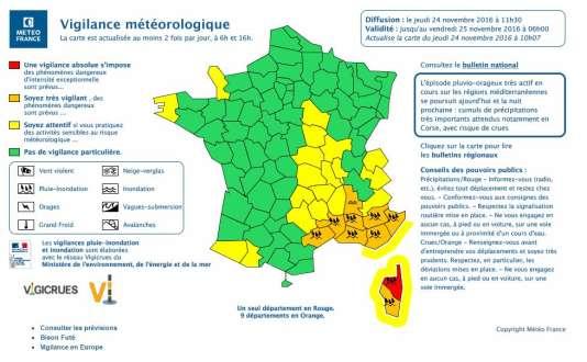 Météo France évoque un événement pluvieux exceptionnel engendrant de très forts écoulements, et des débordements des cours d'eau.