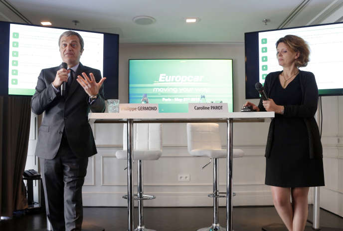 Philippe Germond, patron d'Europcar, et Caroline Parot, alors directrice générale du groupe, en mai 2015 à Paris.
