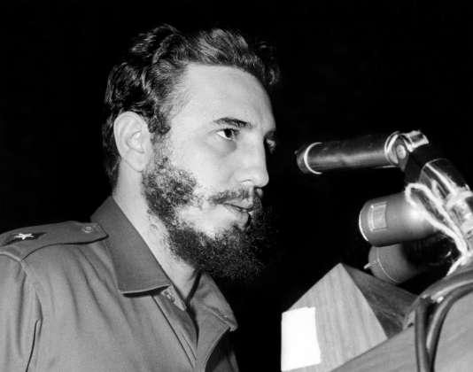 Fidel Castro devant l'Assemblée générale des Nations Unies, à New York, le 26 septembre 1960.
