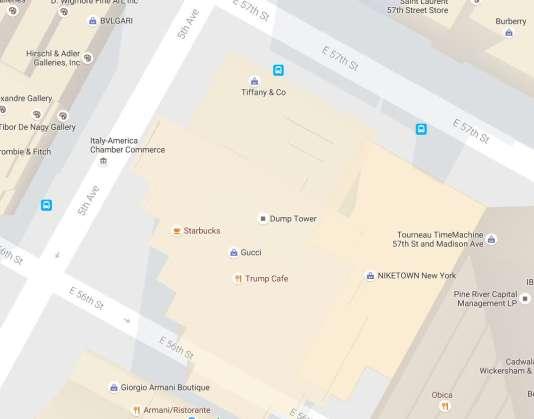 Le nom de la Trump Tower a été changé en Dump Tower sur Google map.