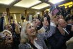 Au QG de campagne de François Fillon, au moment de l'annonce des résultats de la primaire, le donnant vainqueur, à Paris, le 27 novembre.