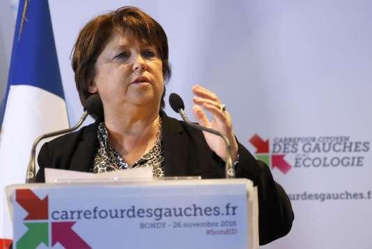 Martine Aubry pendant son discours à Bondy, le 26 novembre.