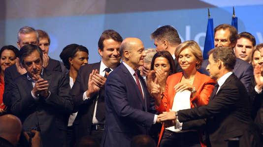 François Fillon, Thierry Solère, Alain Juppé, Valérie Pécresse et Nicolas Sarkozy.