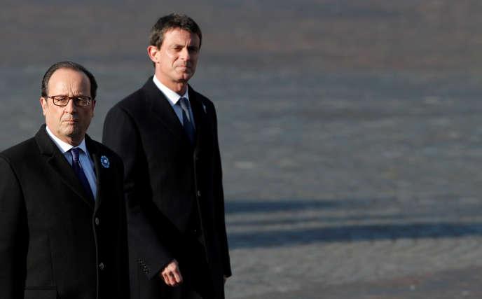 Francois Hollande et Manuel Valls, à Paris, le 11 novembre 2016.