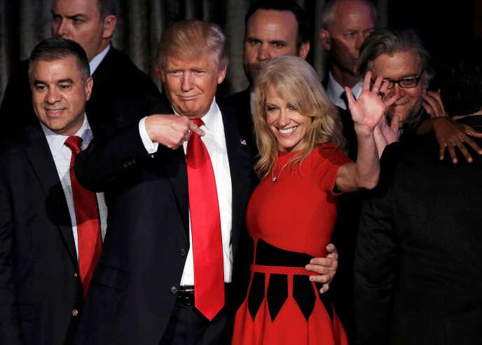 Donald Trump et Kellyanne Conway à New York, le 9 novembre.