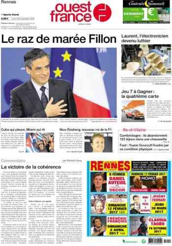 « Ouest-France» évoque un raz de marée alors que, selon les derniers résultats, M.Fillon a obtenu 66,5% des voix face à Alain Juppé (33,5%).