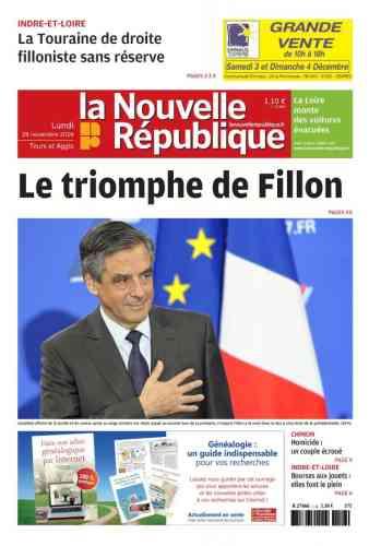 Le quotidien « La Nouvelle République» qualifie la victoire de François Fillon de «triomphe».