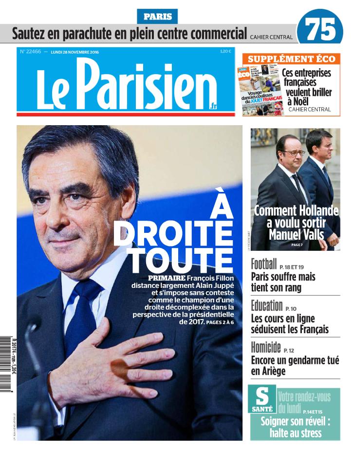 A l'image du «Parisien», beaucoup de journaux ont choisi une photographie de M.Fillon main sur le cœur.