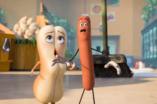 Brenda (avec la voix de Kristen Wiig) et Frank (avec la voix de Seth Rogen) dans le film d'animation américain de Conrad Vernon et Greg Tiernan,«Sausage Party».