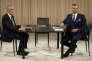 Alexander Van der Bellen (à gauche) et Norbert Hofer, avant un débat télévisé, à Vienne, le 27novembre.