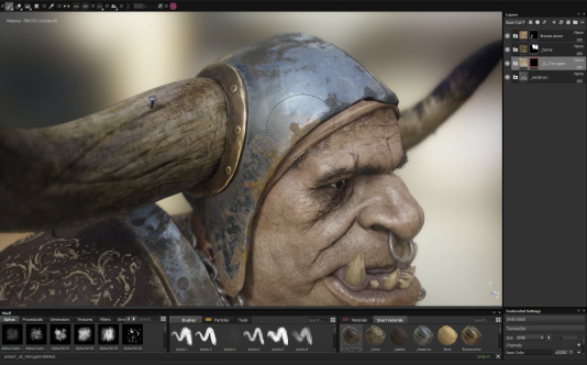 Capture d'écran de Substance Painter, qui permet de créer ses propres textures et de les appliquer à la volée sur un objet numérique.