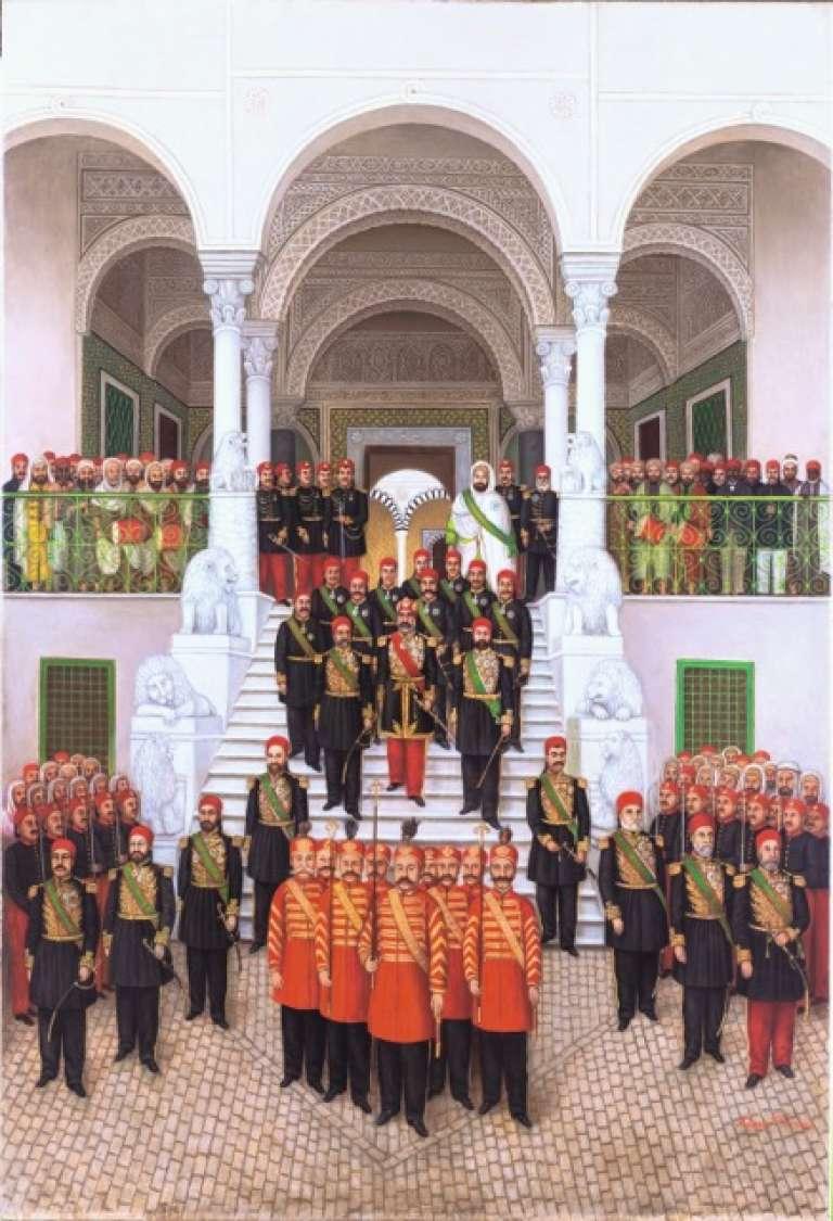 «La Descente des marches» à Tunis, palais Ksar es-Saïd.