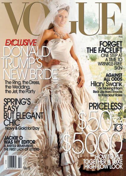 Melania Trump en couverture de« Vogue», en février 2005.