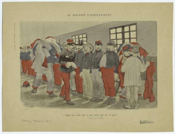 Gravure d'une scène au magasin d'habillement de l'armée française, en 1899.