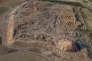 Vue aérienne en 3D, prise en juin 2016 par un drone, du site de Nimroud en Irak, avecla ziggourat en forme de colline, aujourd'hui rasée par l'EI, l'empreinte du palais et des temples.