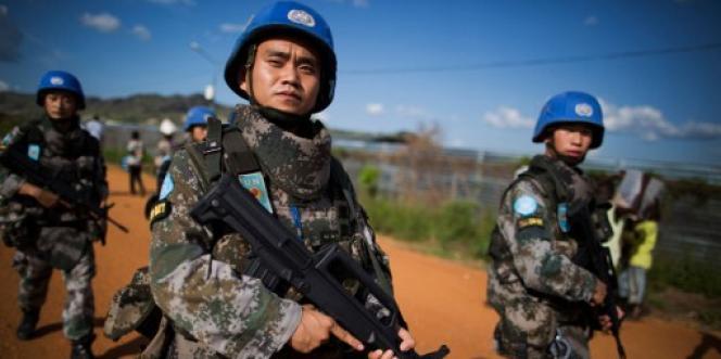Des casques bleus chinois déployés au Soudan du Sud, à Juba, en octobre 2016.
