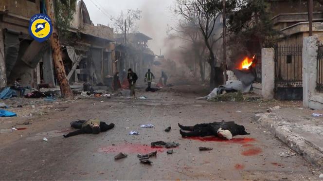 Alep-Est, le 30 novembre. Image extraite d'une vidéo diffusée par les casques blancs (la défense civile syrienne).