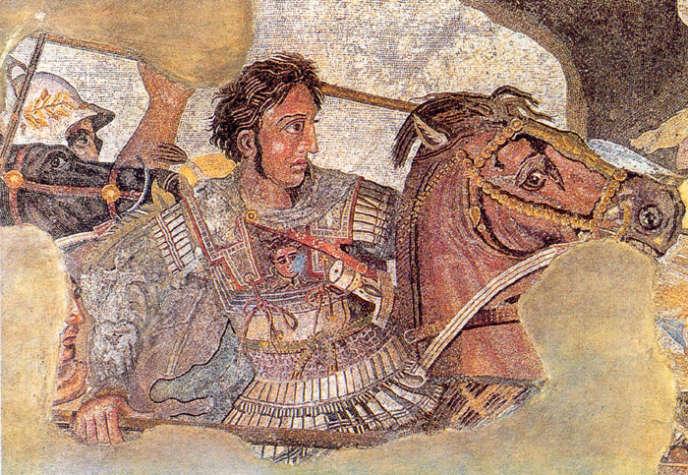Alexandre à la bataille d'Issus, détail (Ier siècle av. J.-C.), Musée national de Naples.