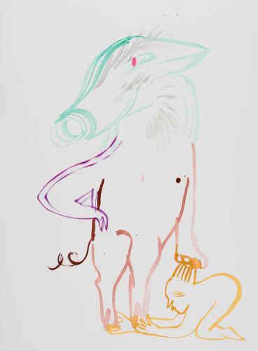 « Le Cochon Lucky colors: jaune, gris, marron, or »J'ai moi colonne de bronze un état de providence un chiffre qui monte un quatre un cinq et le cœur solide. J'ai le temps je fais le temps.