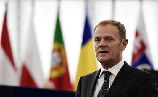Le président du Conseil européen, Donald Tusk, le 26 octobre 2016 à Strasbourg.