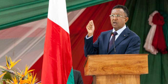Le président malgache Hery Rajaonarimampianina à Antananarivo en 2016.