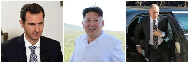 De g. à dr. : Bachar Al-Assad,Kim Jong-un etVladimir Poutine.