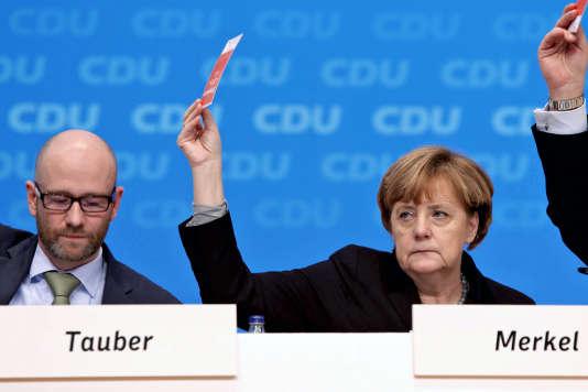 : AngelaMerkelpendant la conférence de la CDU en décembre 2015 à Karlsruhe
