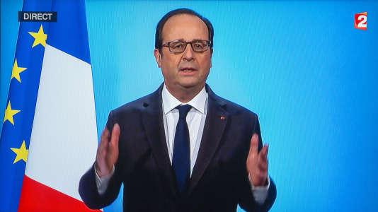 François Hollande lors de son annonce le jeudi 1er décembre sur France 2 qu'il ne sera pas candidat à l'élection présidentielle de 2017.