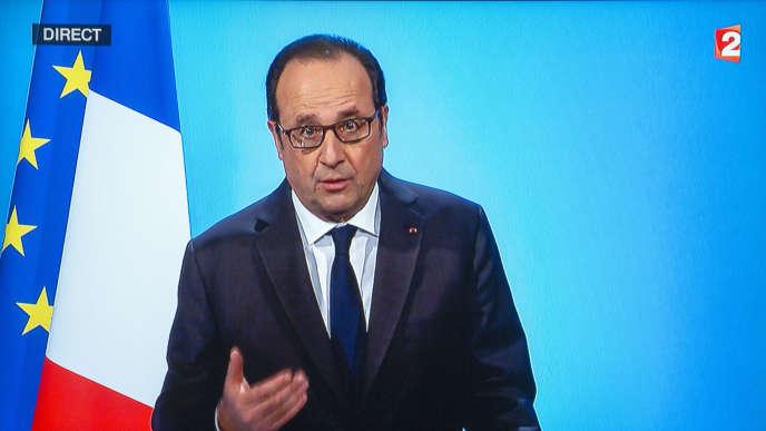 François Hollande annonce sur France 2 qu'il renonce à être candidat à l'élection présidentielle de 2017.