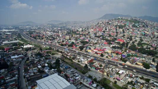 La quartier d'Ecatepec, à Mexico, en août 2016.
