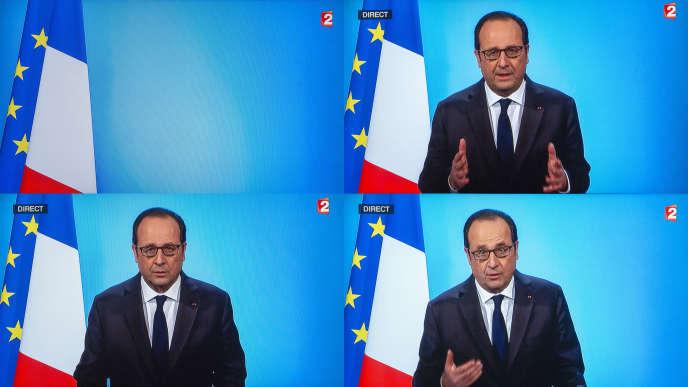 Photographies d'écran de télévision lors de l'allocution de François Hollande, le 1erdécembre.