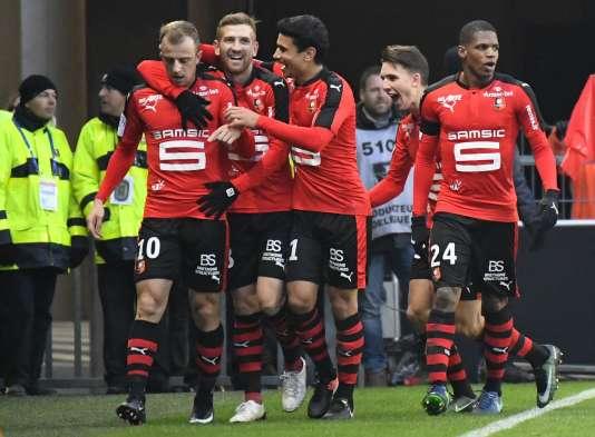 La joie des Rennais après leur victoire face à Saint-Etienne.
