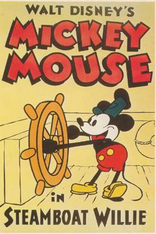 Affiche de Steamboat Willie, première apparition de Mickey (1928).