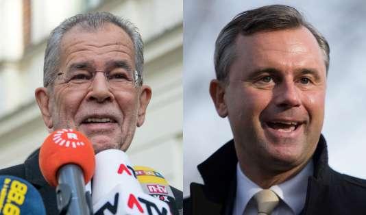 A droite, le candidat écologiste Alexander Van der Bellen ; à gauche, le candidat de l'extrême droite Norbert Hofer.