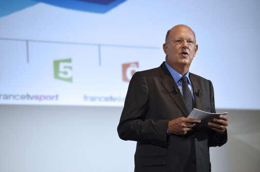 L'ancien président de France Télévisions, Rémy Pflimlin, lors d'une conférence de presse, le 26 août 2014, à Paris.