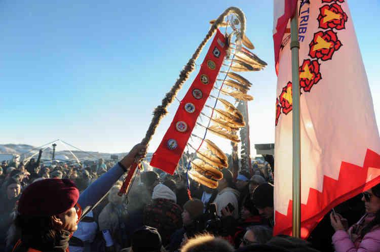 A l'annonce dugel du Dakota Access, le projet d'oléoduc, le4décembre.