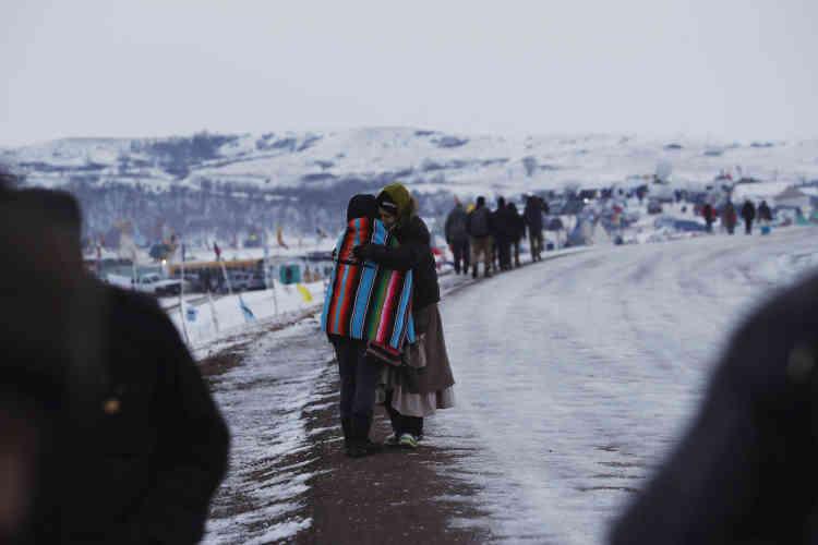 A l'entrée ducamp d'Oceti Sakowin, où se rassemblent les opposants au Dakota Access, le projet d'oléoduc, le 2 décembre.