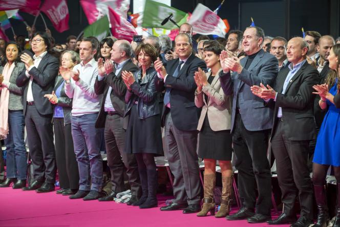 Jean-Vincent Placé, Bruno Le roux, Marisol Touraine, Jean-Christophe Cambadélis, Najat Vallaud-Belkacem, Didier Guillaume et Jean-Luc Bennahmias.