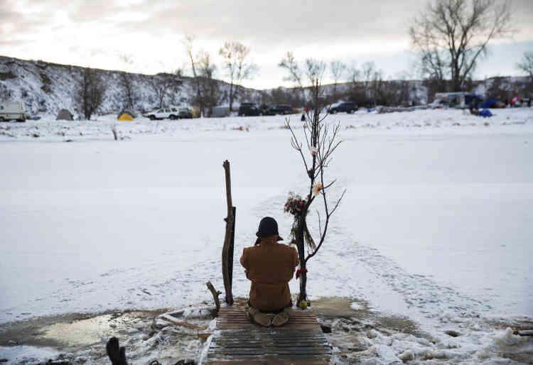 La rivière Cannon Ball qui longe le camp d'Oceti Sakowin, le 4 décembre.