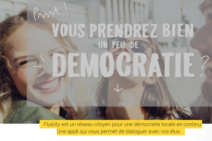 """«Nova Ideo,Democracy OSouFluicity… Souvent lancées par des entrepreneurs français passionnés par la vie publique, ces plates-formes ont pour ambition de """"renouveler la démocratie"""" quand elles ne proposent pas carrément d'""""ubériser la vie politique""""». (Photo: capture d'écran de la page d'accueil du site Fluicity.com)."""
