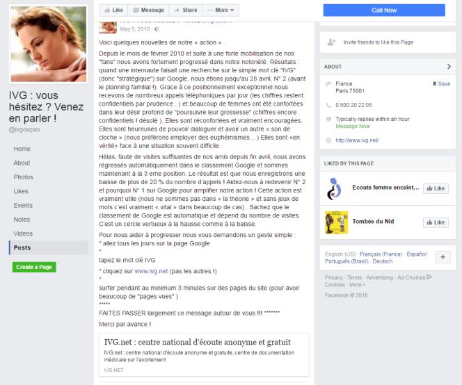 La page Facebook de SOS-Détresse distille des conseils à ses fans pour améliorer le référencement d'ivg.net.