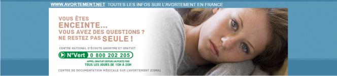 Le site avortement.net présente le numéro vert de l'association SOS-Détresse comme celui d'un «centre national d'écoute anonyme et gratuit».