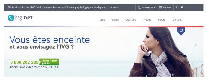 Le numéro vert d'ivg.net, élément central de l'action de l'association SOS-Détresse