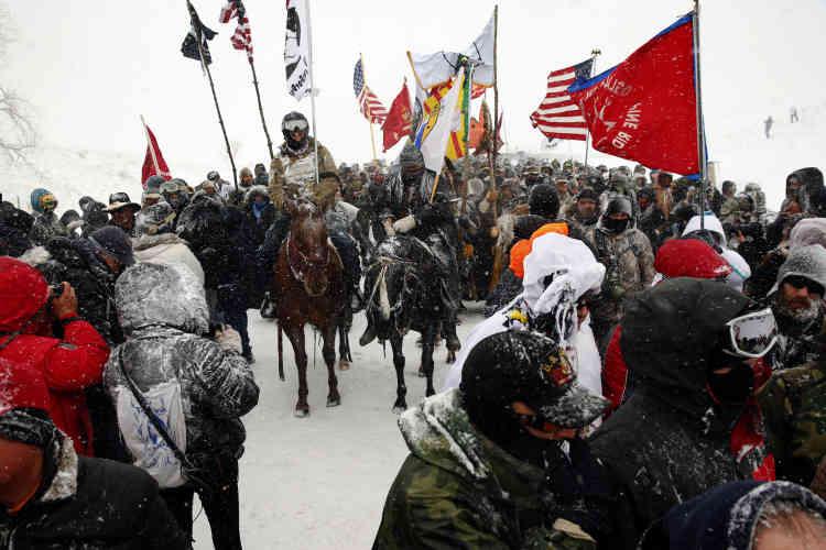 Dans le camp d'Oceti Sakowin, le 5 décembre.