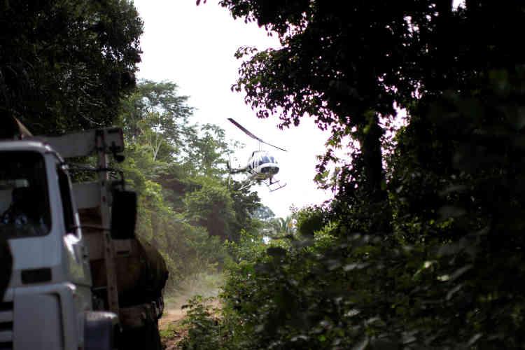 Un hélicoptère de l'Institut brésilien de l'environnement et des ressources naturelles renouvelables (Ibama) intercepte un camion chargé de troncs d'arbres lors d'une opération dans la municipalité de Novo Progresso, au nord du Brésil, le 11novembre.