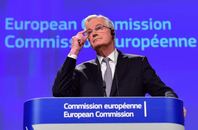 Michel Barnier, le« Monsieur Brexit» de la Commission européenne, lors de sa première allocution publique depuis sa prise de fonction en octobre, le6décembre2016 à Bruxelles.