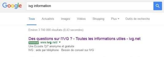 En octobre, l'association SOS-Détresse sponsorisait ivg.net sur Google