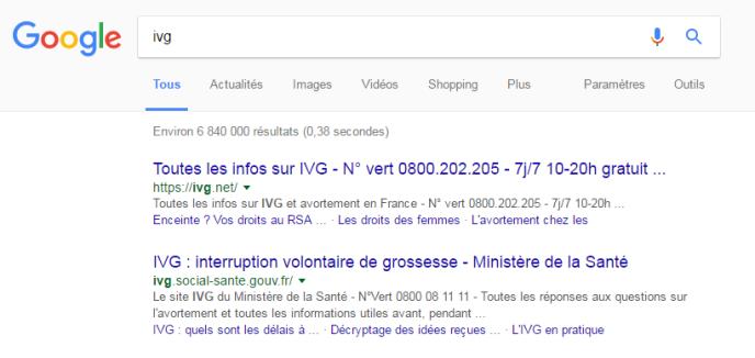 Le site ivg.net sort en première position des recherches sur l'IVG sur le moteur de recherche Google.