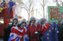 Protestors in costume demonstrate outside the Supreme Court in London, Monday, Dec. 5, 2016. May's government will ask Supreme Court justices to overturn a ruling that Parliament must hold a vote before Britain's exit negotiations can begin _ a case that has raised a constitutional quandary and inflamed the country's heated debate about Brexit. (AP Photo/Frank Augstein)