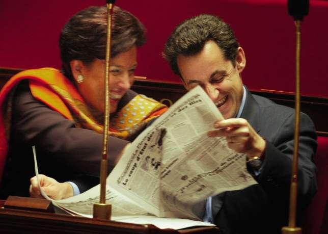 Roselyne Bachelot et Nicolas Sarkozy en 2002.
